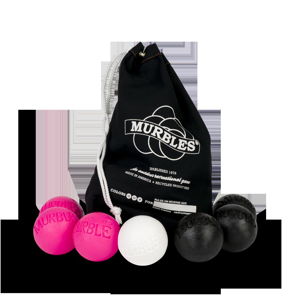 Murbles 2 Player 7 Ball Tournament Set Black Bag