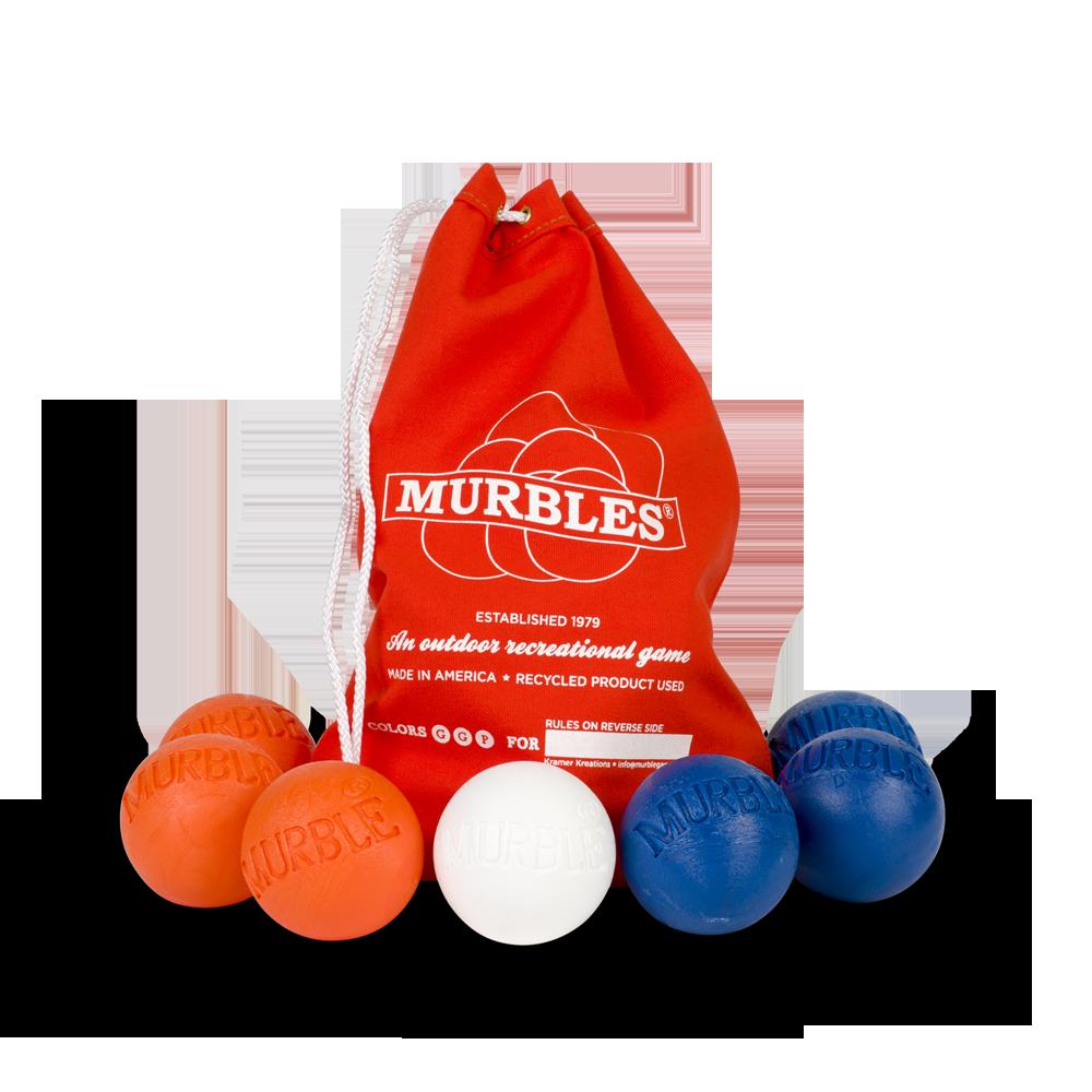 Murbles 2 Player 7 Ball Tournament Set Red Bag