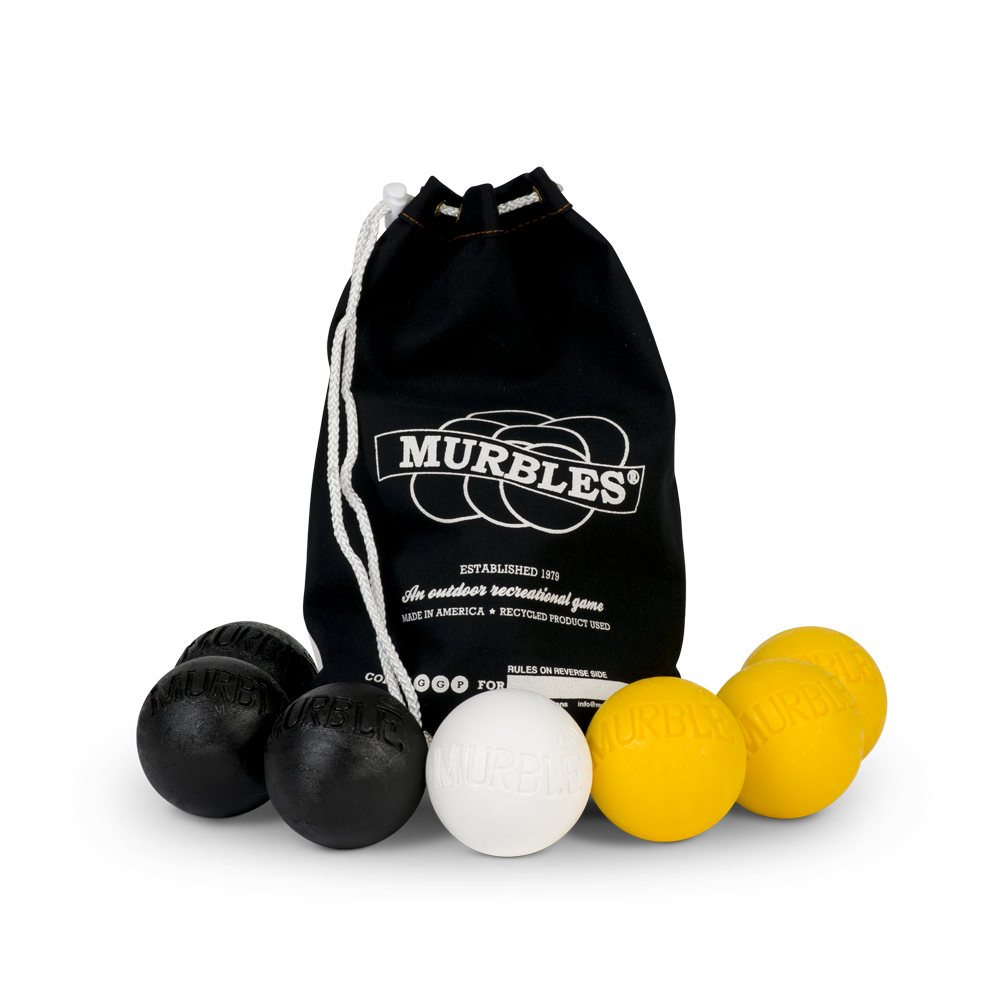Murbles 2 Player 7 Ball Tournament Set Black Bag with Yellow Murbles