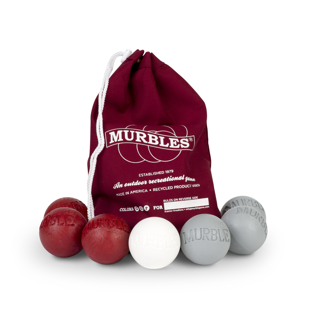 Murbles 2 Player 7 Ball Tournament Set Maroon Bag with Gray Murbles