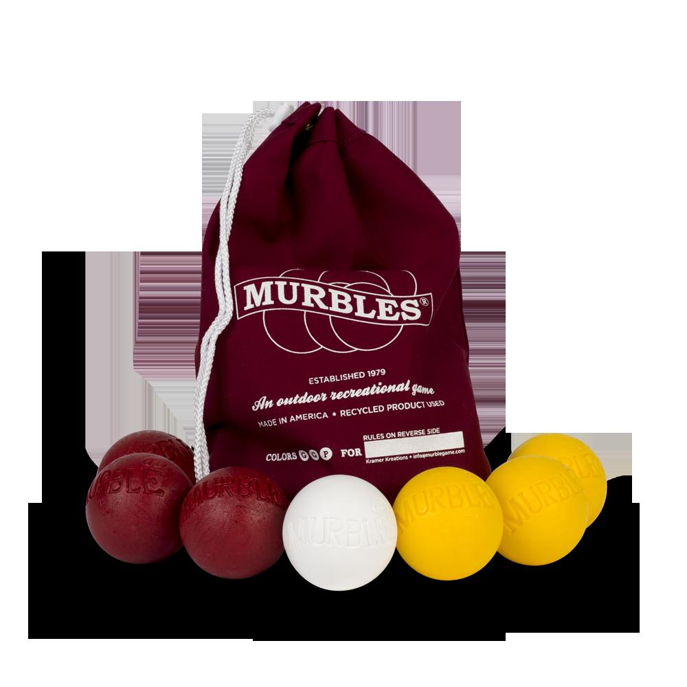 Murbles 2 Player 7 Ball Tournament Set Maroon Bag