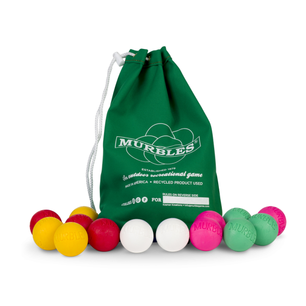 Murbles 4 Player 14 Ball Medium Tournament Set Green Bag